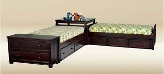 Heritage Twin Size Corner Storage Unit Beds Walnut