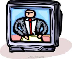 News Anchor On Television Royalty Free Vector Clip Art Illustration