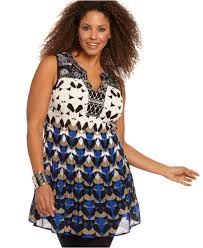 alfani plus size top sleeveless printed embellished tunic plus