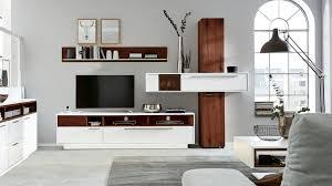 interliving wohnzimmer serie 2102 wohnkombination 510801s dunkles asteiche furnier weißer mattlack vierteilig breit