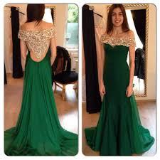 2016 beading hollow back green evening dress wear off the shoulder