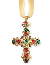 Jeweled Cross Christmas Tree Wall Room Ornament With Crown Gold Ribbon 2 3 4 Inch