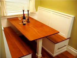 White And Brown Stained Wood Breakfast Nook Table With Bench Having Storage Drawer Ideas Kitchen Booth