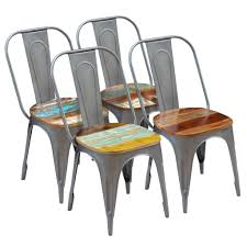 VidaXL Dining Chairs 4 Pcs Solid Reclaimed Wood 18.5