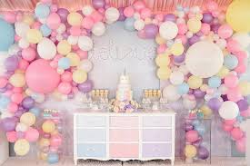 Assorted color honeycomb balloon party table decor idea for one year