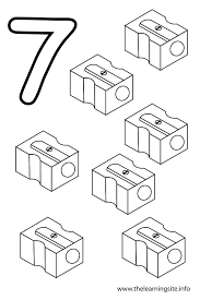 Coloring Page Outline Number Seven Sharpeners