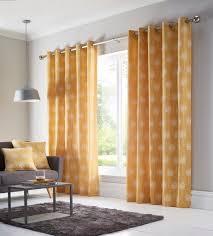 100 Ochre Home Silhouette Eyelet Curtains 168 X 183 Cms
