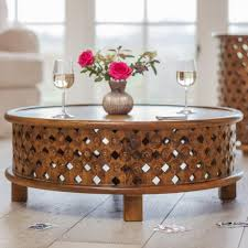 Exotic Lattice Coffee Table Made From Sustainable Mango Wood With Warm Waxed Finish Circular Design For Eastern Display In India Fair Trade