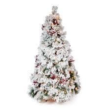 75 Slim Flocked Christmas Tree by Belham Living Flocked Pine Needle Pre Lit Christmas Tree With