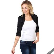 womens tailored shrug 3 4 sleeve cropped bolero top party blazer