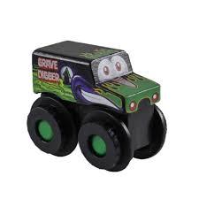 Monster Jam Truckin' Pals Wooden Vehicles Grave Digger - Toys