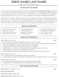 Maintenance Technician Resume Sample Automotive Service Facilities