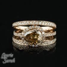 14kt Rose Gold Horizontal Set Chocolate Colored Diamond Engagement
