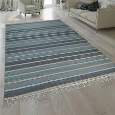 handgewebter kilim teppich streifen design grau