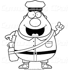 munication Clipart of a Black and White Mail Man Postal Worker with an Idea