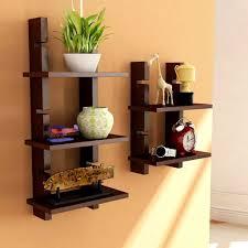 Brown Wooden Ladder Wall Shelves Shelf Display Rack