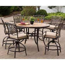 Hanover Monaco 7-Piece High-Dining Set In Tan With A 56 In. Tile-top Table  And 6 Swivel Chairs, MONDN7PCBR-C Outdoor Resin Ding Sets Youll Love In 2019 Wayfair Mainstays Alexandra Square 3piece Outdoor Bistro Set Garden Bar Height Top Mosaic Small Alinium And Tall Indoor For Home Bunnings Chairs Metric Metal Big Modern Patio Set Enginatik Patio Sets Tables Tesco Grey Sandstone Sainsbur Tableware Plans Wicker Hartman Fniture Products Uk Wonderful High Ding Godrej Squar Glass Composite By Type Trex