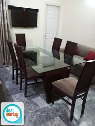 Six Chairs Glass Dining Table For Sale