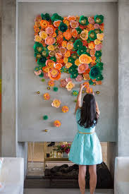 Wall Decoration Ideas With Paper Beautiful Green Yellow Orange Flower Art Here Are 20 Creative