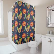 Fruit Rustic Retro Design On Navy Blue Background Shower Curtain