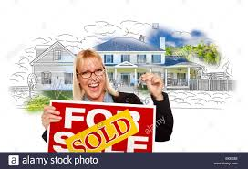 Excited Woman Holding House Keys Sold Real Estate Sign Over Photo And Drawing On White