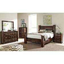 Dark Brown Rustic 5 Piece Queen Bedroom Set