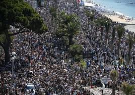 A General View Shows The Crowd Gathering Near Makeshift Memorial On Promenade Des Anglais During Minute Of Silence Third Day National
