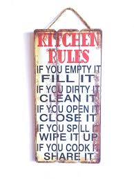 Kitchen Decor Family Rules Wooden Sign With Quote Country Style Red White And Black