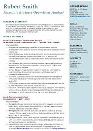 Associate Business Operations Analyst Resume Model