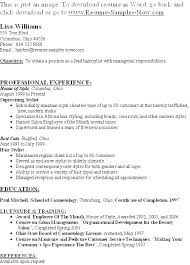 Hairstylist Resume Examples Related Post Hairdressing Apprentice