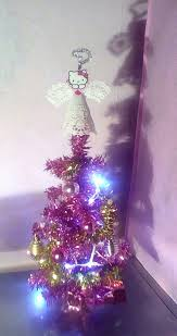 Tiny Pink Tinsel Christmas Tree With Hello Kitty Topper