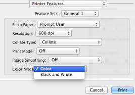 From The Color Mode Dropdown Menu Choose Between And Black White Printing