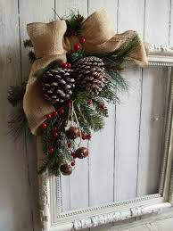 Primitive Shabby Antique Picture Frame Christmas Wreath Wall Door Mantel Holiday Display Unique Upcycled Hand Made