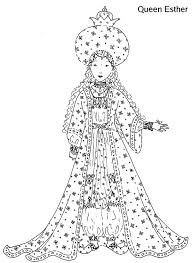 Queen Esther Glamour Dress Coloring Pages
