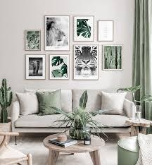 grüne naturinspirierte bilderwand tierposter botanische
