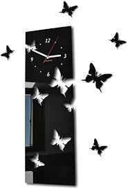 flexistyle große moderne wanduhr schmetterling schwarz vertikal querformat 60 x 20 cm 3d diy wohnzimmer schlafzimmer kinderzimmer