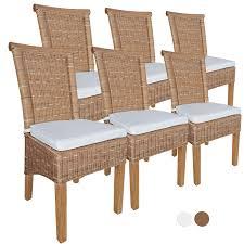 esszimmer stühle set rattanstühle perth 6 stück braun sitzkissen leinen weiß