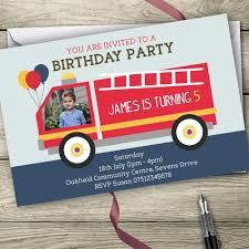 Fire Engine Photo Invitations Personalised Birthday Party Invites | EBay