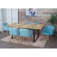 6x esszimmerstuhl hwc d71 stuhl küchenstuhl retro design armlehnen stoff textil samt türkis