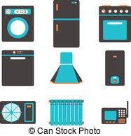 Household Appliances Icons Set Of Kitchen Equipment On A Clipart