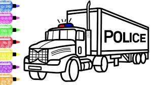 100 Kidds Trucks How To Draw A Police Truck For Kids Race Coloring Page For