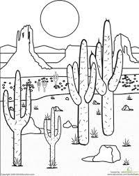 Second Grade Coloring Worksheets Color The Desert Landscape
