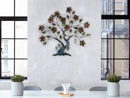 formano wand deko baum blüten aus metall breite 67cm