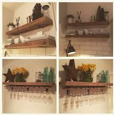 Reclaimed Wood Made To Measure Chunky Kitchen Shelves Metal Brackets Wine Glass Holders
