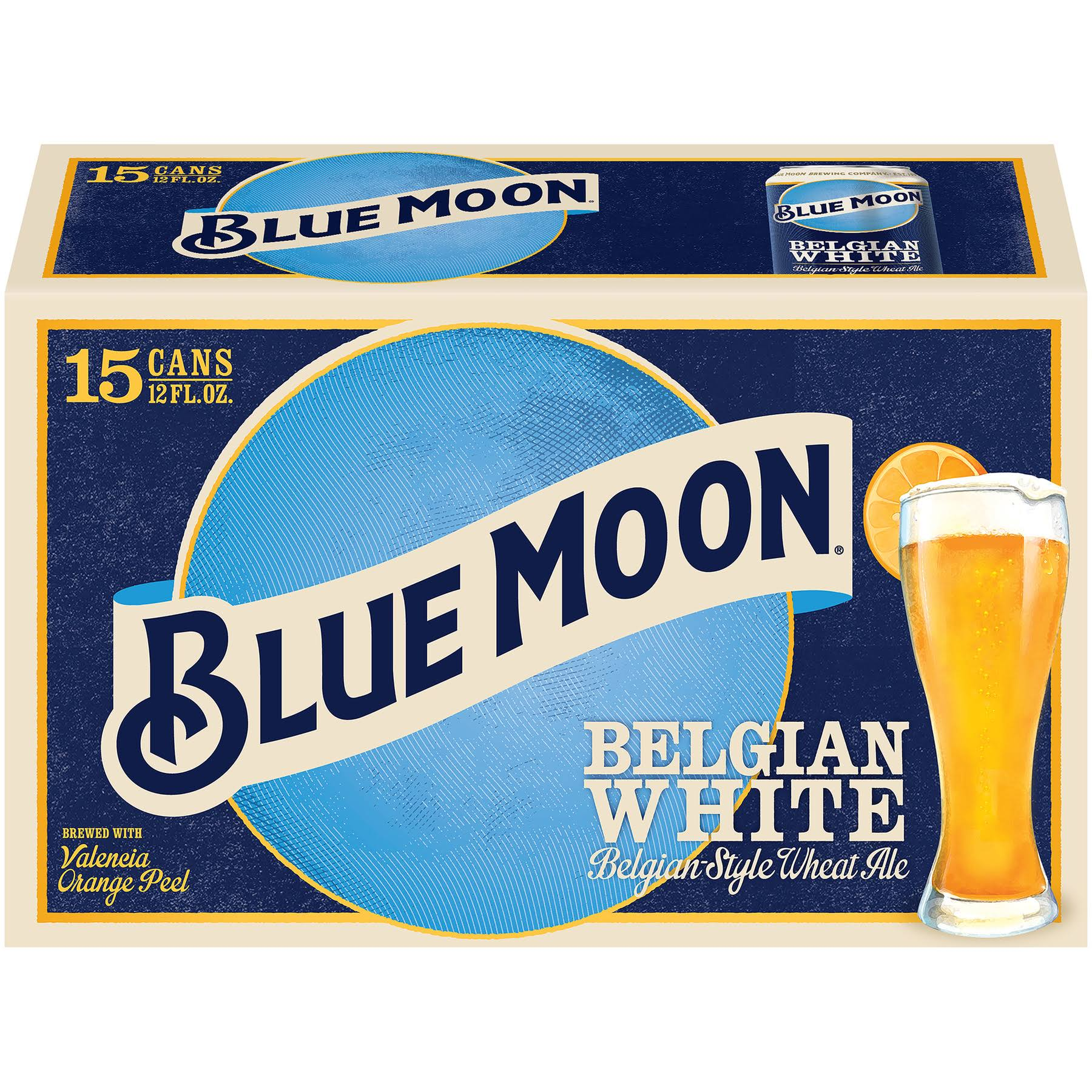 Blue Moon Beer, Wheat Ale, Belgian White, Belgian-Style - 15 – 12 fl oz cans