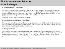 3 Tips To Write Cover Letter For Store Incharge