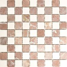 mosaik fliese marmor natursteinmosaik rot beige schachbrett rosso verona botticino anticato 42 1004