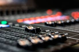 Production Gear Music Studio Console Noise Fader Background Image