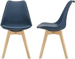 en casa 2er set design esszimmerstühle 81 x 49cm blau pu kunstleder polsterstuhl stühle wohnzimmerstuhl küchenstuhl
