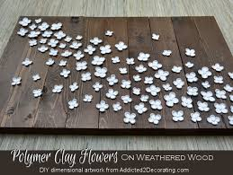 Dimensional Artwork Polymer Clay Flowers On Weathered Wood